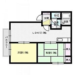エクセル1091B棟[2階]の間取り