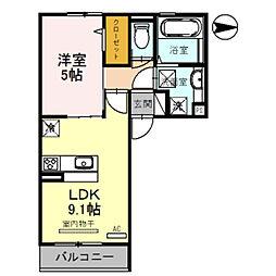 Osaka Metro御堂筋線 新金岡駅 徒歩12分の賃貸アパート 2階1LDKの間取り