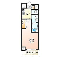 アドバンス大阪フェリシア 4階1Kの間取り