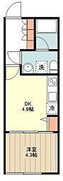 西武新宿線 田無駅 徒歩9分の賃貸マンション 1階1DKの間取り