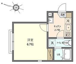 グランステージ川崎 2階1Kの間取り
