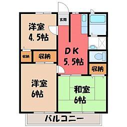 栃木県宇都宮市上桑島町の賃貸アパートの間取り