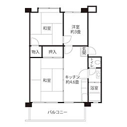 JKK東京 境川 4階3Kの間取り