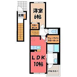 メゾン・Y 2階1LDKの間取り