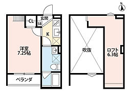 グランディール堺東 2階1Kの間取り