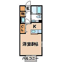 栃木県宇都宮市吉野1丁目の賃貸アパートの間取り