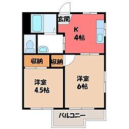 栃木県宇都宮市陽南1丁目の賃貸アパートの間取り