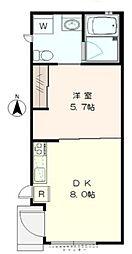 東京都新宿区原町2丁目の賃貸アパートの間取り