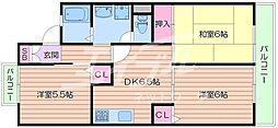 大阪府箕面市新稲5丁目の賃貸アパートの間取り