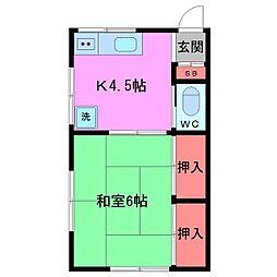 千葉県船橋市二子町の賃貸アパートの間取り