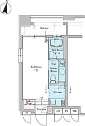東京メトロ有楽町線 護国寺駅 徒歩1分の賃貸マンション 2階1Kの間取り