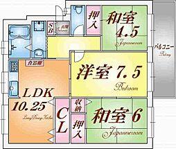 兵庫県神戸市須磨区高倉台3丁目の賃貸マンションの間取り