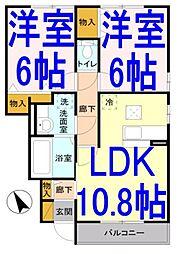 茨城県筑西市一本松の賃貸アパートの間取り