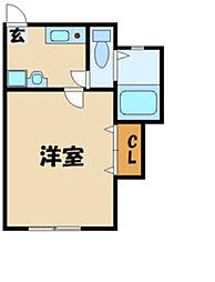 ドーム多摩 P棟 2階1DKの間取り