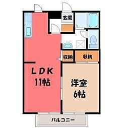 栃木県小山市暁1丁目の賃貸アパートの間取り