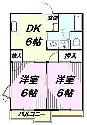 東京都八王子市宮下町の賃貸アパートの間取り