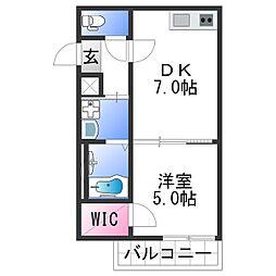 フジパレス田中町III番館 2階1DKの間取り