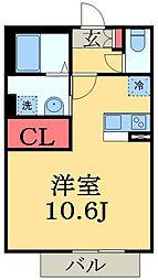 千葉県市原市八幡の賃貸アパートの間取り