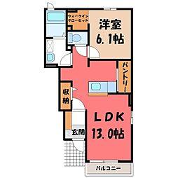 ドミール大島 II 1階1LDKの間取り