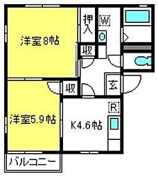 埼玉県さいたま市見沼区大字中川の賃貸アパートの間取り
