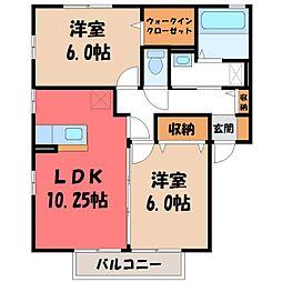 栃木県宇都宮市江曽島町の賃貸アパートの間取り