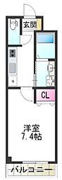 (仮称)堺市堺区向陵中町3丁 新築賃貸マンション 2階1Kの間取り