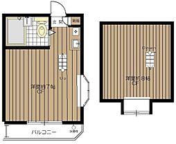 東京都中野区中野5丁目の賃貸アパートの間取り