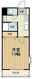 JR中央線 八王子駅 バス15分 丹木1丁目下車 徒歩1分の賃貸マンション 2階1Kの間取り