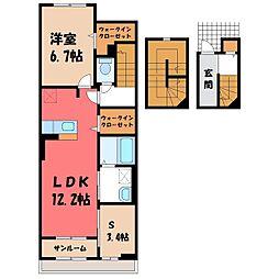 東武宇都宮線 おもちゃのまち駅 徒歩5分の賃貸アパート 3階1SLDKの間取り