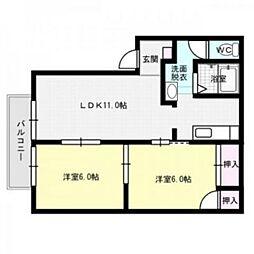 コーポホワイトD棟[2階]の間取り