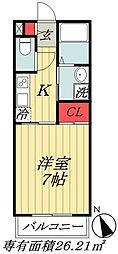 JR総武線 本八幡駅 徒歩8分の賃貸アパート 2階1Kの間取り