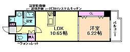 Plumeria Toyonaka 1階1LDKの間取り