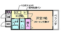 阪急箕面線 箕面駅 徒歩2分の賃貸マンション 1階1Kの間取り