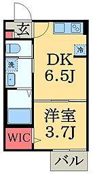 JR内房線 浜野駅 徒歩5分の賃貸アパート 1階1DKの間取り
