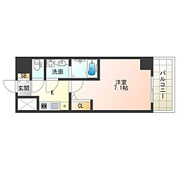 JR大阪環状線 福島駅 徒歩13分の賃貸マンション 7階1Kの間取り