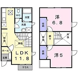 [テラスハウス] 神奈川県大和市上草柳 の賃貸【/】の間取り