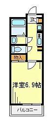 東武東上線 朝霞駅 徒歩12分の賃貸マンション 1階1Kの間取り