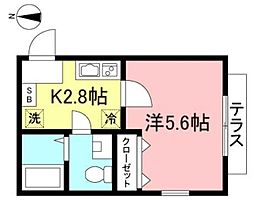 ベラビスタ西横浜 1階1Kの間取り