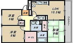 大阪府堺市堺区出島町5丁の賃貸アパートの間取り