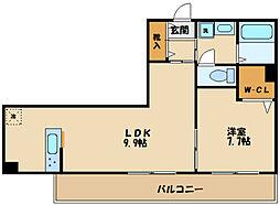 JR南武線 中野島駅 徒歩12分の賃貸アパート 3階1LDKの間取り