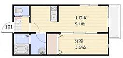 湘南新宿ライン宇須 東大宮駅 徒歩12分の賃貸アパート 1階1LDKの間取り