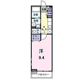 JR阪和線 信太山駅 徒歩9分の賃貸アパート 2階1Kの間取り