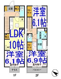 [一戸建] 栃木県小山市三峯1丁目 の賃貸【/】の間取り