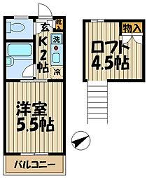 ビューテラス鎌倉[201号室]の間取り