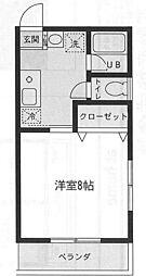 神奈川県横浜市緑区長津田6丁目の賃貸アパートの間取り