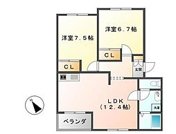 レジデンスK 2[1階]の間取り