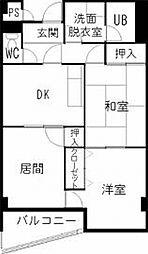 長野県松本市渚1丁目の賃貸マンションの間取り