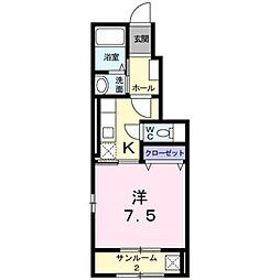 富山県富山市本郷町の賃貸アパートの間取り