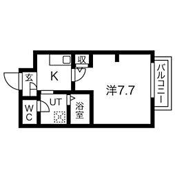 南海高野線 白鷺駅 徒歩21分の賃貸アパート 1階1Kの間取り