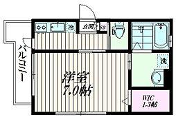 京急本線 京急蒲田駅 徒歩18分の賃貸マンション 3階1Kの間取り